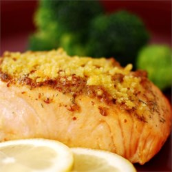 Baked Salmon Fillets Dijon Recipe - Delicious baked salmon coated with Dijon-style mustard and seasoned bread crumbs, and topped with butter.