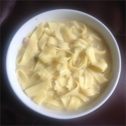Incredibly Easy Chicken and Noodles Recipe - The richness of the condensed soups that comprise the creamy sauce for this simple dish will have folks thinking you made it from scratch.