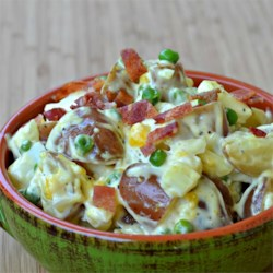 Bacon and Eggs Potato Salad Recipe - Bacon and eggs are folded into this potato salad that is perfect for parties or an every day meal.