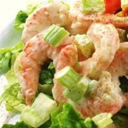 Doris's Shrimp Salad Recipe - Shrimp salad, refreshing and light, served in a hollowed-out summer tomato. Served as an appetizer, salad, or a light brunch.