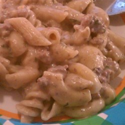 Collins Goulash Recipe - This is what you need when the kids are hungry and you have a pound of hamburger in the refrigerator. A skillet of creamy mushroom soup and cream cheese gravy, hamburger, and macaroni will fill those kids up.