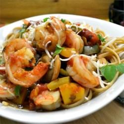 Spaghetti Diablo with Shrimp Recipe - Spaghetti and shrimp are served in a spicy tomato sauce in this meal idea.