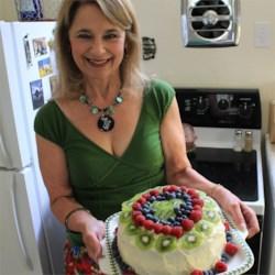 Susan with homemade wedding cake