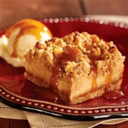 Caramel Apple Streusel Squares Recipe - On a brown sugar-rolled oats crust, apples in a creamy caramel sauce are topped with a streusel mixture, baked, then served warm with ice cream.