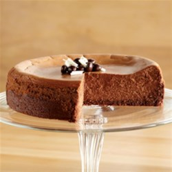 Fudge Truffle Cheesecake from EAGLE BRAND(R) Recipe - Be sure to serve this rich chocolate cheesecake with a bottomless cup of full-flavored java.