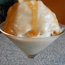 Banana Sorbet Recipe - Frozen banana, cold water, and caramel sauce are all you need to make a creamy sorbet for a delightful treat.