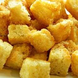 Very Yummy Croutons Recipe - Make your own croutons with nothing more than some bread, butter, and garlic salt.