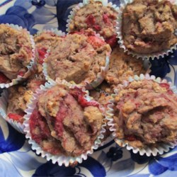 Strawberry Rhubarb Muffins Recipe - Bite into a burst of tangy fruit flavor in these healthful muffins made with amaranth, rice and bread flours.
