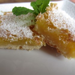 Lemon Squares II Recipe - A great bar cookie with a butter cookie crust and a lemon filling.