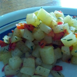 Butter Fried Potatoes Recipe - Diced potatoes get brown and tasty when cooked with butter on the stovetop.