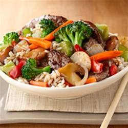 Beef and Broccoli Stir-Fry from Birds Eye(R) Recipe - A delicious beef and broccoli stir fry is on the table is less than 30 minutes with handy prepared veggies and rice.