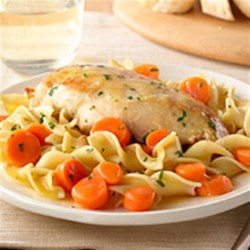 Golden Chicken with Noodles from Birds Eye(R) Recipe - Browned chicken breasts and carrots are simmered in broth, tossed with hot cooked egg noodles and grated Parmesan cheese for a weeknight meal that's ready in 20 minutes.
