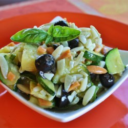 Orzo and Zucchini Salad Recipe - Orzo and zucchini are tossed with fresh basil and garlic for a refreshing salad perfect for outdoor dining.