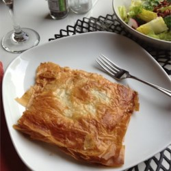 Phyllo Squares with Baked Egg, Spinach, and Cheese