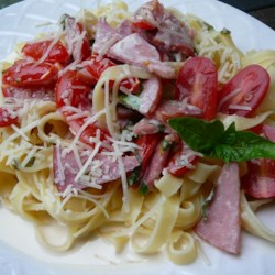 Maui Girl's Summer Fettuccine Recipe - Fresh cherry tomatoes and basil make this rich and creamy pasta dish the perfect summer meal.