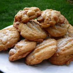 Salted Peanut Cookies Recipe - Salted peanut cookies.  If you use self rising flour, omit baking soda and salt.