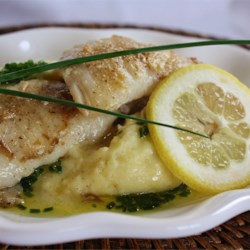 Pan-Roasted Halibut Cheeks with Chive Oil on Truffled Mashed Yukon Golds