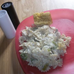 Chicken alfredo with bow tie noodles