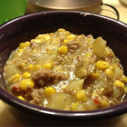 Hamburger Corn Soup Recipe - With ground beef, plenty of corn, and potatoes, this easy soup is thick and hearty enough to be a meal on its own.
