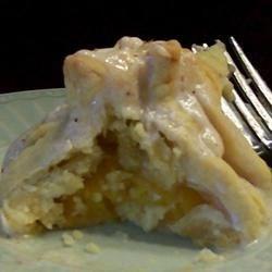 Fresh Peach Dumplings Served with Hard Sauce