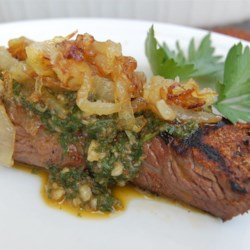 Chimichurri Sauce Recipe and Video - This famous Argentinean sauce is perfect for any grilled foods. My catering customers love this sauce on garlic crostini with grilled flank steak slices.