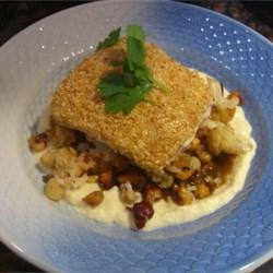 Sesame Crusted Sea bass with califoloer puree and hazelnut shoyu sauce