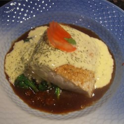 Crusted mahi Mahi with miso glaze and tropical fruit cream sauce