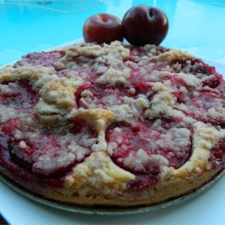 Plum Kuchen Recipe - Moist plum coffee cake is baked with a cinnamon crumble topping sure to please all your guests at brunch.