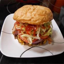Rib Eye Burger With Bacon And Cheddar Cheese