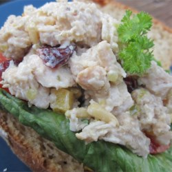 Chicken Salad Fit for a Dragon Recipe - Pine nuts, jalapeno pepper, and sweet pickle relish make a nice lunch salad for your favorite fire breather.