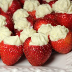 Pudding and Cream-Filled Strawberries Recipe - These elegant, cream-filled strawberries are a hit at parties or as delicious snack.