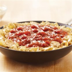 KRAFT RECIPE MAKERS Chicken Bruschetta Pasta Recipe - Chicken strips are cooked in a basil garlic sauce, then simmered in a savory finishing sauce with farfalle and Parmesan cheese for a quick weeknight meal.