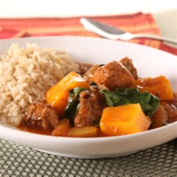 KRAFT RECIPE MAKERS Hawaiian Pineapple Pork Stew Recipe - Chunks of pork shoulder, butternut squash, and pineapple are slow-cooked with a hickory barbeque sauce for an easy Hawaiian-inspired dinner.