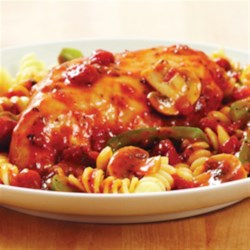 KRAFT RECIPE MAKERS Chicken Cacciatore Recipe - Lemon- and oregano-seasoned chicken and veggies are slow cooked with a tomato and herb sauce and served over pasta.