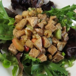 Chicken Salad Balsamic Recipe - The contrasting flavors of sweet apple, crunchy walnuts, savory chicken and tangy balsamic vinaigrette meld beautifully in this simple to prepare chicken salad.
