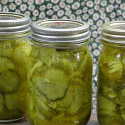 Deb's Bread and Butter Pickles Recipe - These pickles use apple cider vinegar, celery seed, turmeric, and mustard seed and need 2 weeks in the jar.