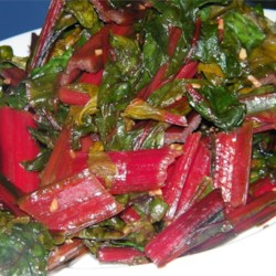 Simple Swiss Chard Recipe - Swiss chard cooked with garlic and balsamic vinegar. Quick and delicious!