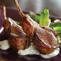 Lamb Chops with Minted Yogurt Sauce Recipe - Lamb chops are marinated in a mint sauce, cooked in a skillet, and served with garlic-mint yogurt.