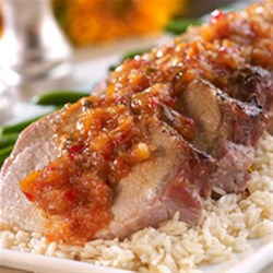 Pork Tenderloin with Tangy Pineapple Pepper Chutney Sauce Recipe - Pineapple pepper chutney brings big flavor to this easy pork tenderloin recipe.