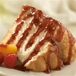 Easy Peach-Raspberry Dessert Topping Recipe - Just mix 2 containers of fruit preserves together to get an elegant and very easy dessert sauce to spread on cakes, fill little pastry shells, or swirl onto all kinds of desserts for a pretty presentation.