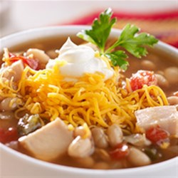 Zesty White Chicken Chili Recipe - Prepared pepper and onion relish adds a zesty richness to the flavor of this white chicken chili.