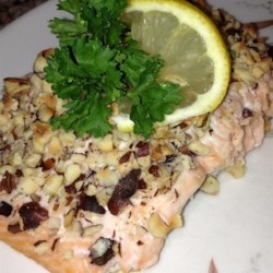 Hazelnut-Citrus Encrusted Salmon Recipe - Hazelnuts, lemon, and rosemary are a delightful complement to salmon in this easy, fast recipe.