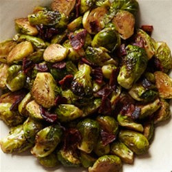 Glazed Brussels Sprouts with Bison Bacon Recipe - Roasted Brussels sprouts are finished in a balsamic and garlic glaze and served with bison bacon pieces.