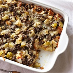 Bison Sausage, Apple and Sage Strata Recipe - Autumn flavors of apple and sage are baked with bison breakfast sausage, eggs, and bread cubes in this delicious brunch strata.