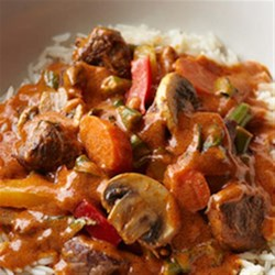 Bison Red Curry Recipe - A delightful Asian-style red coconut curry gets extra-rich flavor from bite-size pieces of bison sirloin steak and plenty of colorful vegetables and fresh basil.