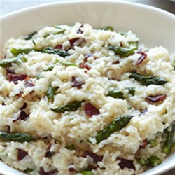 Risotto with Asparagus and Bison Bacon Recipe - This recipe is a hearty take on the traditional risotto dish, complete with asparagus and bison bacon.