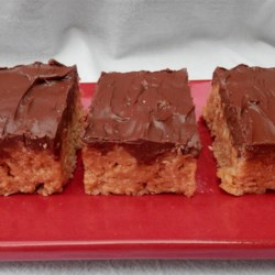 Chocolate Scotcheroos Recipe - A very sweet bar cookie that can be made with Special K(TM) or crispy rice cereal.