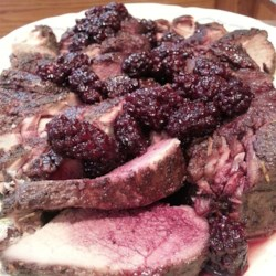 Slow Cooker Blackberry Pork Tenderloin Recipe - Pork tenderloin slow cooks for hours in blackberry sauce, then gets a flavorful red wine and blackberry topping for a savory-sweet dish that tastes fancy but is so easy to make.
