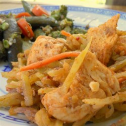 Thai Chicken Broccoli Slaw Recipe - Give your slaw recipe a flavorful hint of Thailand by cooking broccoli slaw and chicken in peanut sauce and sesame oil.