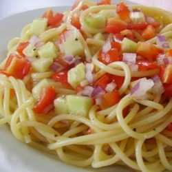 Light Spaghetti Salad Recipe - A pasta salad filled with colorful veggies gets its flavor from fat-free Italian salad dressing and an envelope of Italian salad dressing mix, so it's on the lighter side.